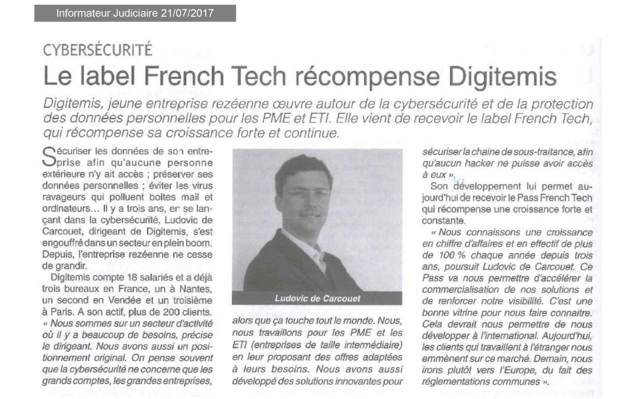 Article de Presse sur l'obtention du Pass French Tech par Digitemis