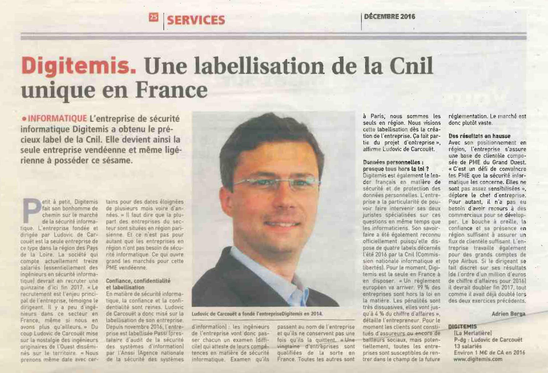 Article de Presse sur la labellisation CNIL de Digitemis