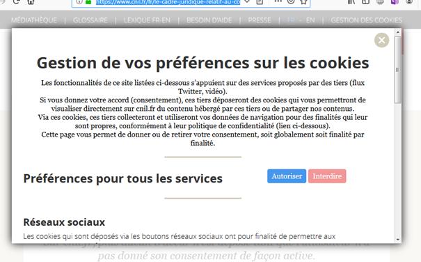 Fenêtre de gestion des préférences sur les cookies