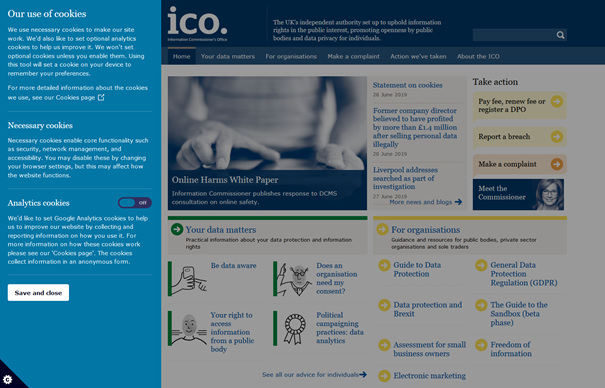 ICO cookies policy