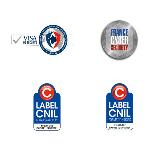 Certifications Digitemis : Visa de sécurité, France Cyber Sécurité, Label CNIL Gouvernanc RGPD et Label CNIL Formation RGPD